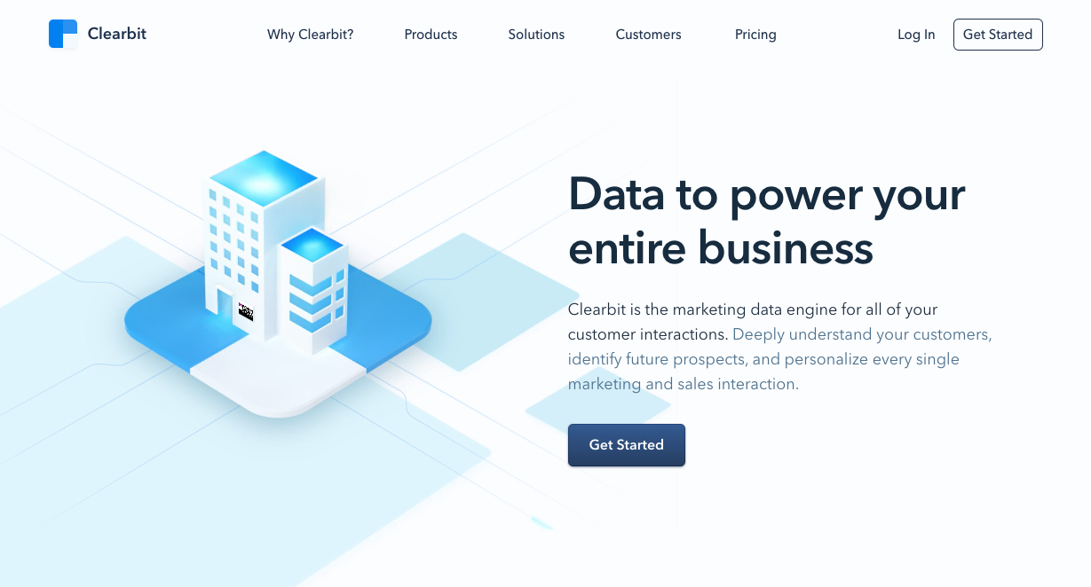Clearbit homepage