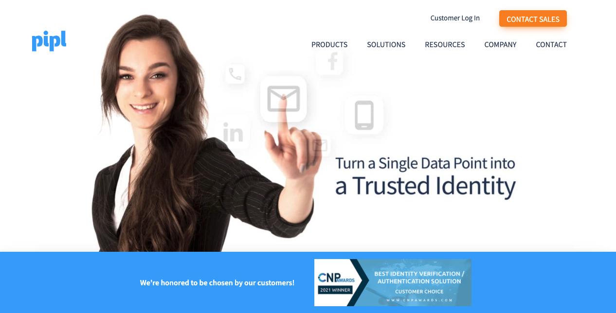 Pipl homepage screenshot